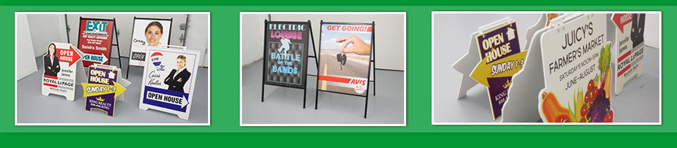 Showcase of A-frame Sign Stands, Sandwich Boards & Sidewalk Signs