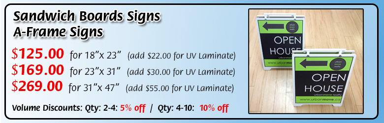 Pricing for Sandwich board signs. Starting at $125